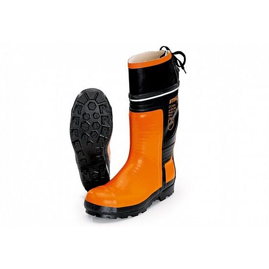 Gumené čižmy SPECIAL, pre prácu s motorovou pílou, farba čierno - oranžová 41